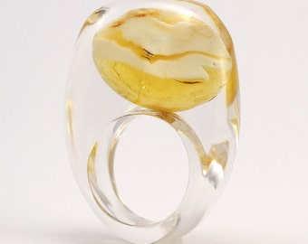 Clear Resin Ring with Unique Amber, Amber Ring, Fashion Ring, Resin Jewellery
