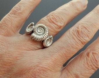 Unisex Triple Ammonite Fossil Sterling Silver Ring, Size 9
