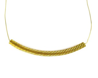 Vintage Raw Brass Twisted Wire Bead Pendants (2X) (V108)