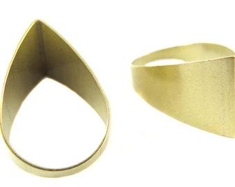 Raw Brass Tapered Cut Teardrop Charms (4x) (K100-A)
