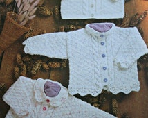 Knitting Patterns Cardigans for Baby King Cole 2594 Sizes 41 - 66 cm 16 - 26 Inches Double Knitting Yarn Vintage Paper Original NOT a PDF