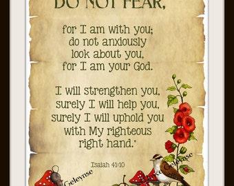 Bible Verse, Isaiah, Do Not Fear: Nature Art, Bird, Flowers, Ladybugs, Toadstools, PRINT, Christian, Scripture, Free Shipping