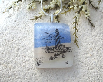 Lighthouse, Beach Necklace, Dichroic Glass Jewelry, Beach Scene Lighthouse, Fused Glass Jewelry Silver Necklace, Water Scene.  072015p100
