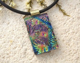 Glass Jewelry, Blue Pink Gold Necklace, Fused Glass Jewelry, Glass Pendant, Dichroic Jewelry, Gold or Black Necklace Included 090115p107