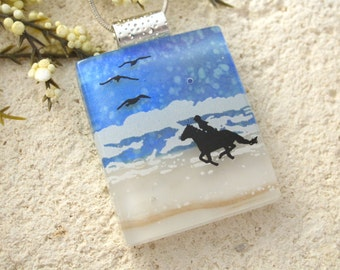 Horse Necklace, Dichroic Necklace, Horse Rider Beach, Dichroic Jewelry, Fused Glass Jewelry, Beach Jewelry, Necklace Included,   090215p102
