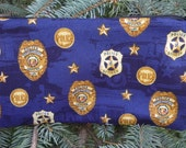 Police pencil case, zippered bag, crochet hook case, knitting notion pouch,  Police Badges, Deep Scribe