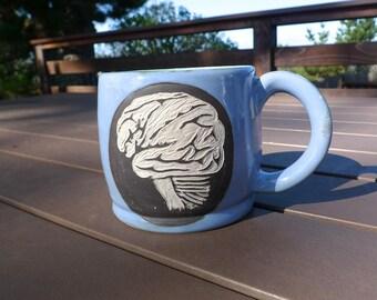Stoneware Anatomical Brain Sgraffito Mug