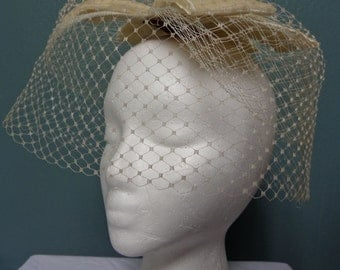 1960s Wedding French Veiled Hat with Velvet Bows