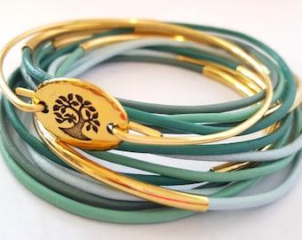 Stackable Bangle Bracelets - Bangle Bracelet Set of 12 plus Tree of life Bangle, Vegan Jewelry, Stackable, layered, boho, bohemian, hippie,