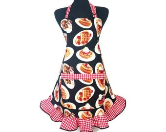 Waffles and Pancake Apron for women, Red and White Check ruffle, Retro Diner, Kitchen Decor