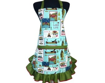 Retro Kitchen Apron for Women, Aqua with Green ruffle, Cabin, Camping Decor