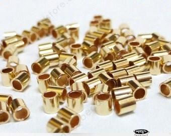 200 pcs 2mm 14/20 Gold Filled Crimp Bead Spacer 2x2 mm F32GF