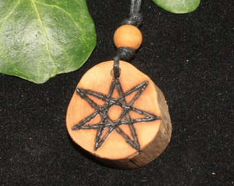 Rare Natural Heather Wood Fairy Star Pendant - Elven Star, Septagram Pagan, Wicca, Witchcraft