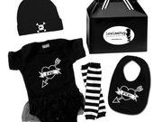 Punk Rock Baby Girl Rockstar Kit black creeper onesie tutu leg warmers hat Bib Dad & Mom Heart Tatoo