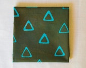 Triangle Tribe Hand Dyed and Patterned Fabric in Turquoise and Chocolate Brown