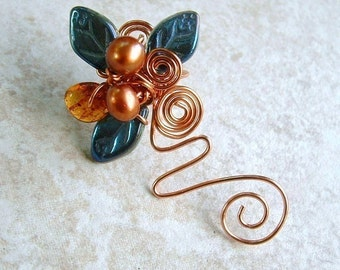 Ear Cuff Vine Blue Copper Amber No Piercing, Fairy Jewelry, Fantasy Ear Climber Non Pierced
