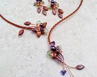 Art Nouveau Torc Necklace Earring Set Autumn Cornucopia