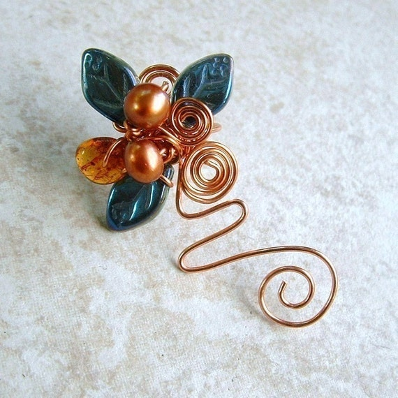 Ear Cuff Vine Blue Copper Amber No Piercing, Fairy Jewelry, Fantasy Ear Climber Non Pierced