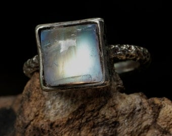 Moonstone ring with oxidized and textured silver ring