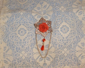 Elegant single red rose pin