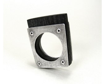 Sterling Silver and Black Resin Riveted Ring - Saturate