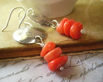 Boho Sterling Earrings, Stamped Discs, Genuine Coral, Fall Leaves, Coral Beads, Sterling Silver, Hand Stamped, Fine Silver, Women Jewelry
