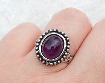Mystery - Vintage glass and Pewter adjustable ring (R-016)