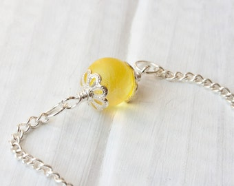 Sunshine Yellow Marble Anklet, Bridesmaid Jewelry