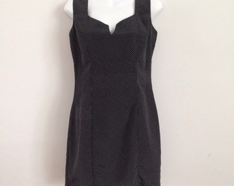 Vintage 90s Anna Sui Dress Mini Black White Polka Dots LBD Sleeveless Designer Minidress Tiny Dots