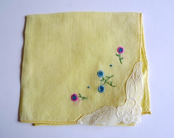 FLORETTES . yellow embroidered handkerchief