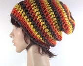 Crochet Slouchy Beanie in Chocolate Brown, Gold, Rust Stripes - Super Length - Unisex