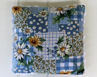 Vintage Daisy Pillow with Blue Check - Colorful Country Pillow - Big Ric Rac Trim - Accent Pillow