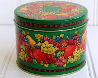 Vintage Tin - Hallmark Fruit Design on Green - Container - Storage - Sale