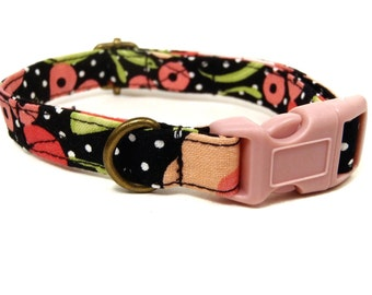 The Lola - Organic Cotton CAT Collar Breakaway Safety Black White Polka Dot Floral - All Antique Brass Hardware
