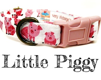 "Pink Piggy Pig Dog Collar - Girl Dog Collar - Organic Cotton - Antique Brass Hardware - ""Little Piggy"""