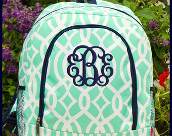 Mint Personalized School Backpack in Trellis Pattern - Monogrammed Backpacks, Personalized Vine print school bags, Mint and Navy Blue