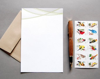 Letter Writing Kit: Banner, letterpress stationery with envelopes