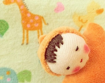 orange germandolls Waldorf Pocket doll, cloth doll, handmade doll waldorf toy mini baby