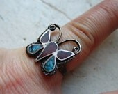 FREE SHIPPING Vintage Sterling Silver Butterfly Ring with Turquoise and Carnelian Stone