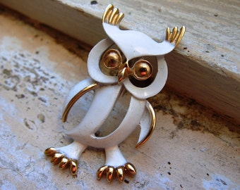 FREE SHIPPING Vintage Owl Brooch with White Enamel Body and Goldtone Accents
