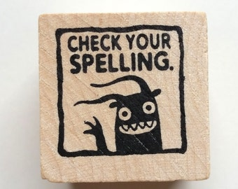 Check Your Spelling - Monster rubber stamp for teachers