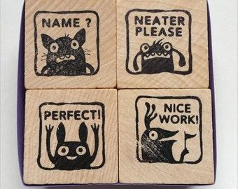 Monster rubber stamps for teachers -- set 3