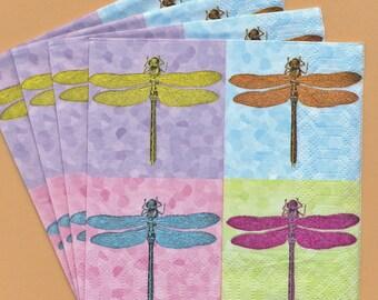 PN056 Paper Napkins by PPD Germany ~ 5x5  Pop Art Dragonflys  Set of 4