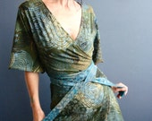 Forever Fall - iheartfink Handmade Hand Printed Green Botanical Art Print Jersey Wrap Tunic Top