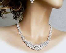 Bridal Jewellery Set Pearl Rhinestone Necklace Long Earrings, Bridal Jewelry Set Statement Wedding Pearl Crystal Bridal Jewlery Set