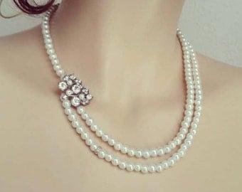 Pearl Bridal Necklace, Wedding Pearl Necklace, Bridal Statement Necklace, Wedding Necklace Bridal Jewelry, Crystal, Brooch, Vintage, Ivory
