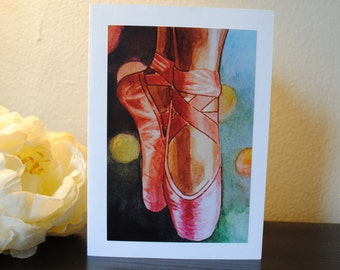 Ballet Shoes Watercolor Print Notecard