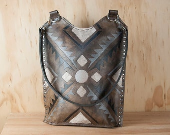 Leather Zippered Tote - Four Corners Tote in Southwest Inspired Geometric - Black white gray silver - Handmade leather purse - Tote bag