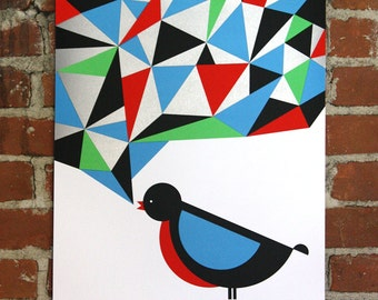 Bird 1- Handprinted Art Print