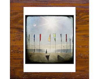 8x8 Print [JCP-166] - Flags at the end of the corso in Manly, Australia, red, green, sun, flare, sea, ocean